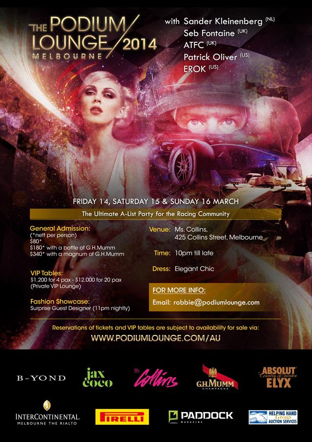 The Podium Lounge Melbourne 2014 Flyer